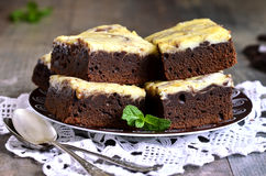 Brownies with curd. Royalty Free Stock Photo