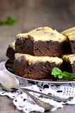 Brownies with curd. Royalty Free Stock Images