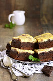Brownies with curd. Royalty Free Stock Image