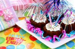 Brownies da festa de anos Fotografia de Stock