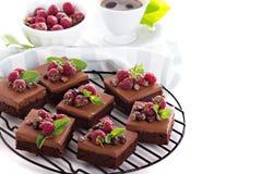 Brownies da musse de chocolate com framboesa Fotos de Stock Royalty Free