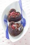 Brownies dadas forma coração fotos de stock