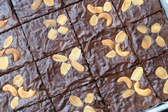Brownies. Dark Chocolate Brownies, Fresh Baked from Oven, Sliced Stock Photos