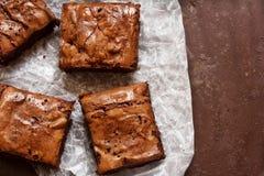 Brownies deliciosas do chocolate fotos de stock royalty free