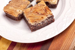 Brownies do bolo de queijo Fotografia de Stock Royalty Free