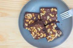 Brownies do chocolate e da amêndoa Imagens de Stock