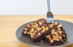 Brownies do chocolate e da amêndoa Imagens de Stock Royalty Free