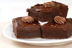 Brownies do fudge de chocolate Fotografia de Stock