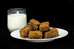 Brownies e leite Foto de Stock