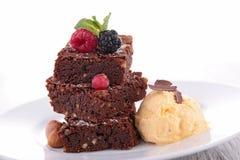 Brownies and icecream Stock Photo