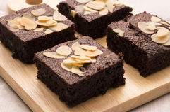 Brownies met amandel Stock Foto