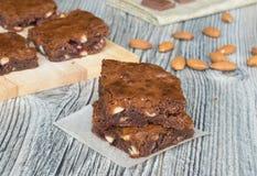 Brownies met amandelen Stock Afbeelding