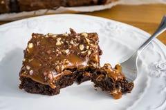 Brownies met noten en gezouten karamel stock foto's