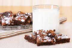 Brownies and Milk Stock Images