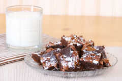 Brownies with Milk Stock Photo