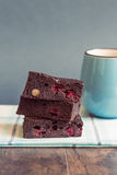 Brownies with milk Royalty Free Stock Photography