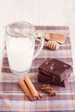 Brownies with milk Stock Photography
