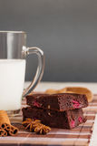 Brownies with milk Royalty Free Stock Image