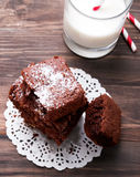 Brownies and milk Stock Photos