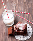 Brownies and milk Stock Photography