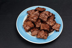 Brownies op een plaat Stock Foto