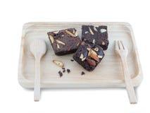 Brownies op Houten Dienblad Royalty-vrije Stock Afbeeldingen