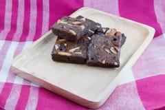 Brownies op Houten Dienblad Royalty-vrije Stock Fotografie