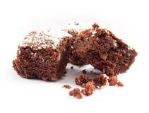 Brownies op witte achtergrond Stock Afbeeldingen