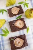 Brownies with pears Royalty Free Stock Photography