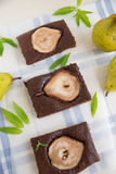 Brownies with pears Stock Photos