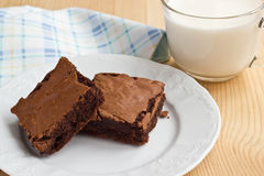 Brownies on a plate with a cup of milk Stock Image
