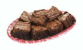 Brownies Plate Side View Stock Photo