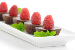 Brownies and Raspberries Royalty Free Stock Images