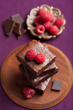 Brownies with raspberry Stock Photo