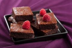 Brownies with raspberry Royalty Free Stock Photo