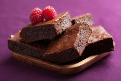 Brownies with raspberry Stock Images
