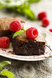 Brownies with raspberry. Homemade brownies with fresh raspberry Royalty Free Stock Images