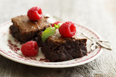 Brownies with raspberry Stock Photos