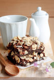 Brownies. Tea time with Chocolate brownie cake Royalty Free Stock Images