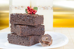 Brownies. Three slices of delicious homemade chocolate brownie Royalty Free Stock Images