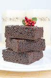 Brownies. Three slices of delicious homemade chocolate brownie Stock Photography