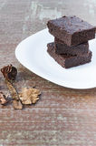 Brownies. Three slices of delicious homemade chocolate brownie Royalty Free Stock Image