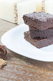 Brownies. Three slices of delicious homemade chocolate brownie Stock Photo