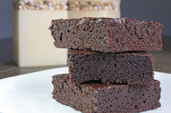 Brownies. Three slices of delicious homemade chocolate brownie Royalty Free Stock Photography