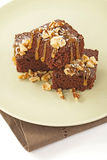 Brownies topped nuts and caramel Royalty Free Stock Photos