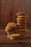 Brownies tower of whole wheat flour, oats and hazelnuts Stock Photography