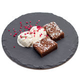 Brownies with vanilla ice-cream isolated on white Royalty Free Stock Photos