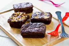 Brownies with varieties topping Stock Photography