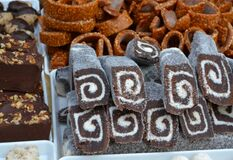 brownies-with-wallnuts-coconut-rolls-and-caramel-rings Royalty Free Stock Images