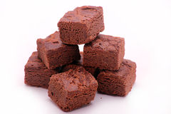 Brownies on white background. Image of stack of brownies on a white background Royalty Free Stock Images